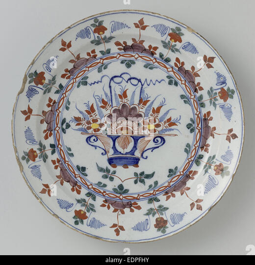 Dish polychrome faience, Anonymous, c. 1760 - c. 1790 - Stock Image