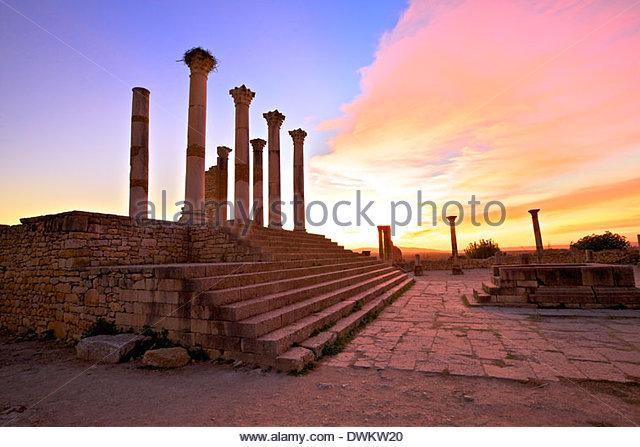 Excavated Roman City, Volubilis, UNESCO World Heritage Site, Morocco, North Africa, Africa - Stock-Bilder