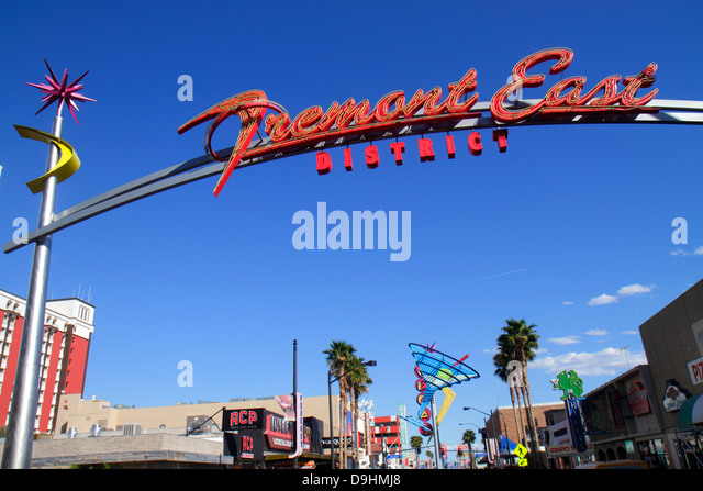 Nevada Las Vegas Downtown Freemont Street East District neon sign historic - Stock Image