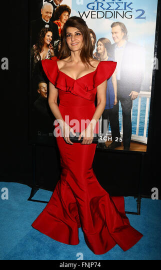 New York, USA. 15th March, 2016. Actress NIA VARDALOS attends the World Premiere of 'My Big Fat Greek Wedding - Stock Image