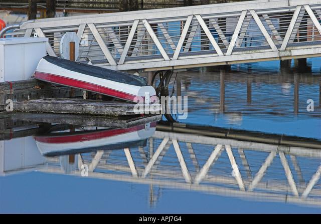'Calm evening reflections in the waters of Gig Harbor Washington USA' - Stock Image