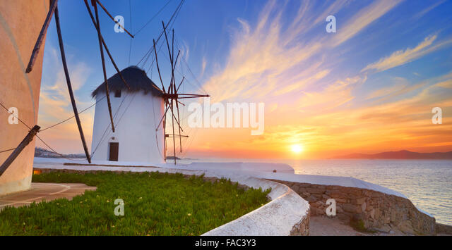 Mykonos sanset landscape with a windmills, Mykonos Island, Greece - Stock Image