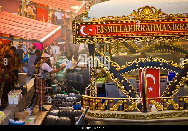Traditional boats cooking and selling food, Eminonu, Galeta bridge, Istanbul, Turkey, Europe Travel - Stock-Bilder