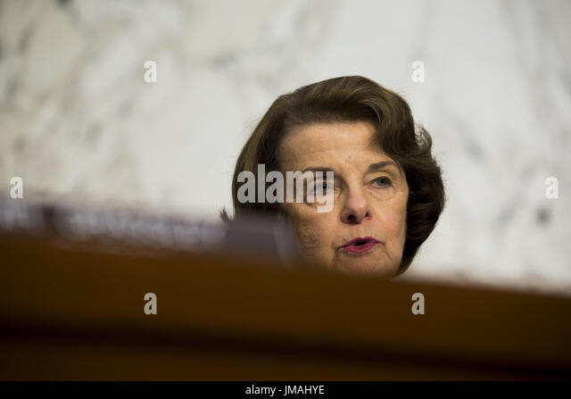 Washington, District Of Columbia, USA. 24th July, 2017. Sen. DIANNE FEINSTEIN (D-CA) questions witnesses during - Stock Image