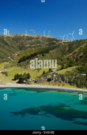 Te Ikaamaru Bay, and Makara Wind Farm (Project West Wind) Wellington, North Island, New Zealand - aerial - Stock Image