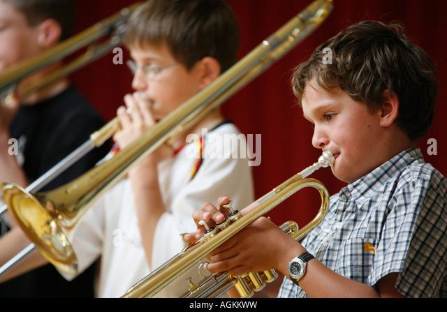 kids making music - Stock Image