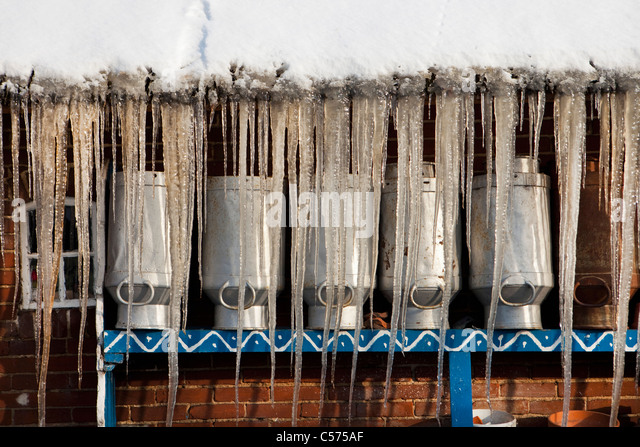 The Netherlands, Staphorst, Winter, Icicles on farm roof. - Stock Image