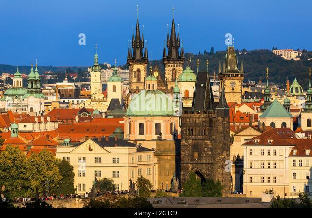 Czech Republic Prague historical centre listed as World Heritage by UNESCO Overview of Old Town - Stock Image
