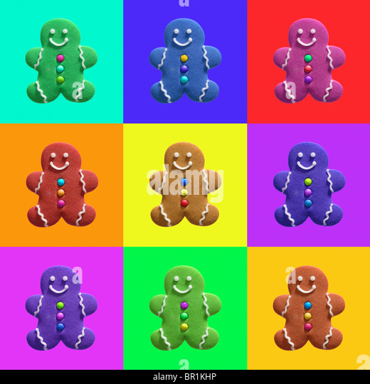 Gingerbread men artwork - Stock Image