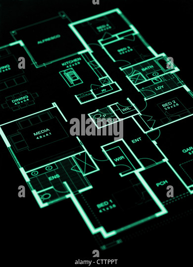 House plans isolated against a white background - Stock-Bilder