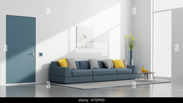 Minimalist white and blue lounge - Stock Image