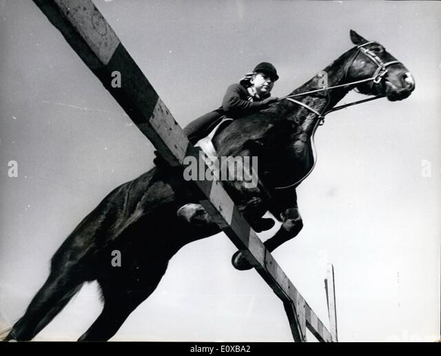 Mar. 03, 1966 - Up And Over - From An Unusual Angle. The Show Jumping season starts next month - and here, in an - Stock Image