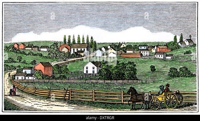 Horse-drawn wagon entering New Germantown, New Jersey, from the north 1840s. - Stock-Bilder