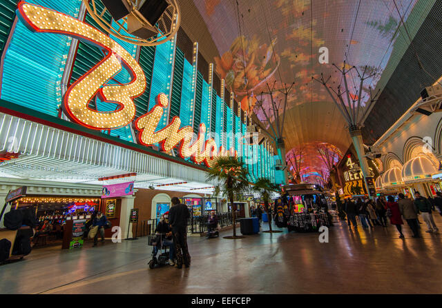 Binion's Gambling Hall and Hotel neon sign, Fremont Street Experience pedestrian mall, Las Vegas, Nevada, USA - Stock Image