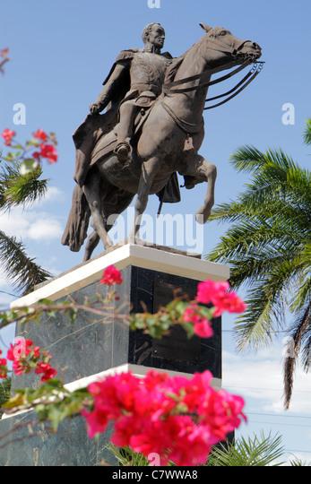 Nicaragua Managua Latin America El Malecon Area Monumental Simon Boliva Monument equastrian horse statue liberator - Stock Image