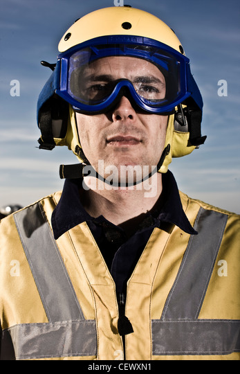 Air traffic controller on naval aircraft carrier HMS Illustrius - Stock Image