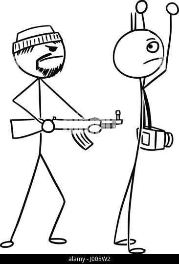 how to draw a stickman holding a gun