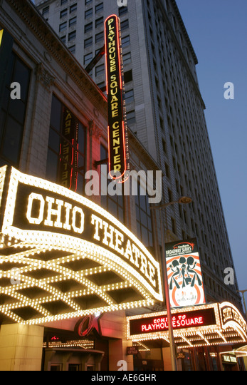 Cleveland Ohio Euclid Avenue Theater District Playhouse Square Center State Theatre nightlife - Stock Image