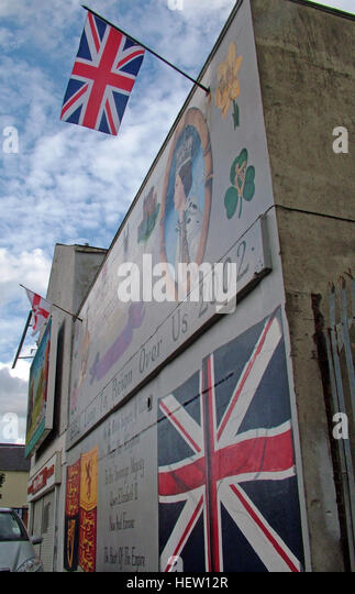Shankill Road Mural -Long To Rein Over Us, West Belfast, Northern Ireland, UK - Stock Image