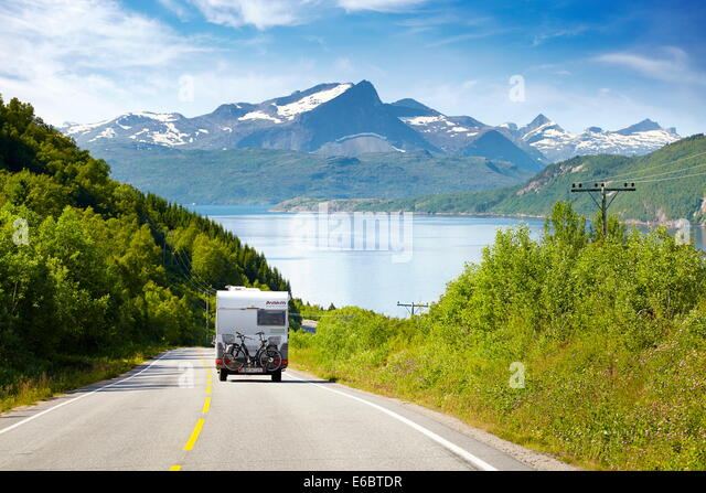 Motorhome on the E6 highway, Norway - Stock Image