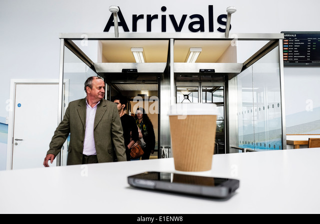 Passengers arriving at Southend Airport. - Stock Image