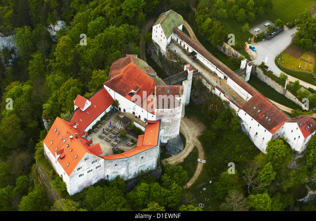Wildenstein Castle, Sigmaringen, Germany, aerial photo - Stock Image
