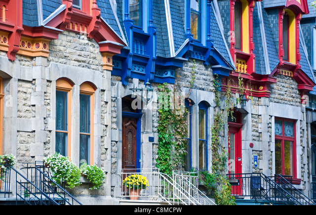 This Victorian famous houses located in square Saint Louis are a historical heritage of the city of Montreal canada - Stock Image