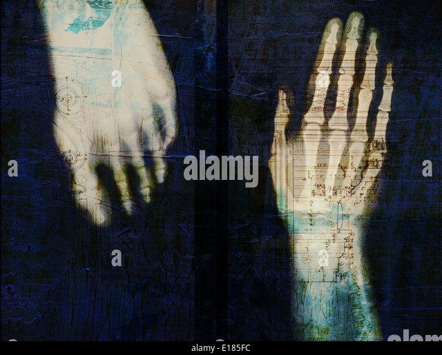 X-ray of hand and foot with renaissance architecture overlay. - Stock Image
