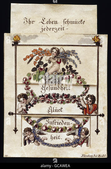 fine arts, paper, greeting cards, pulling card, coloured copper engraving, Adamek, Vienna, early 19th century, - Stock Image