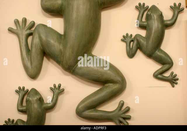 Florida, royalty free, frogs, amphibians, art, sculptures, wall decorations, - Stock Image