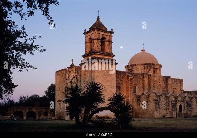 Mission San José at moonrise San Antonio Missions National Historic Park San Antonio Texas USA January 2006 - Stock Image