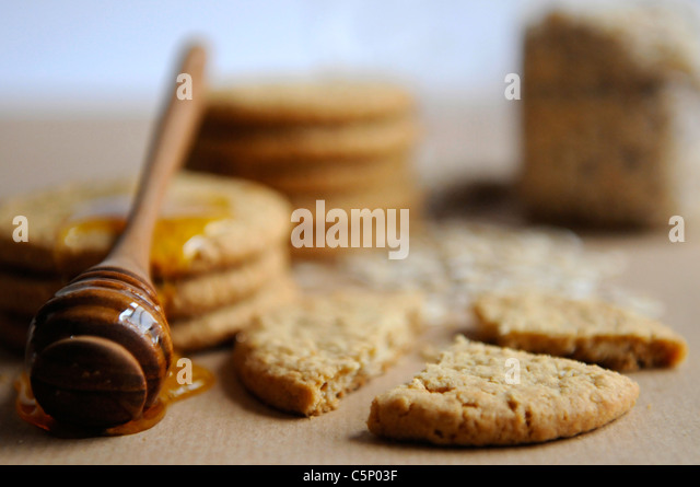 Oat and honey cookies - Stock Image