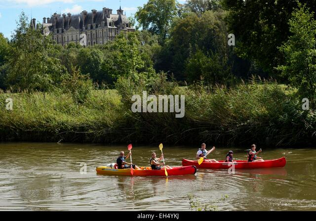 France, Haute Saone, Villersexel, Ognon river, canoeing, Grammont castle dated 1880 - Stock Image
