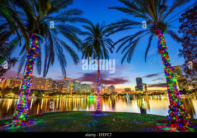 Orlando, Florida, USA downtown cityscape from Eola Lake. - Stock Image