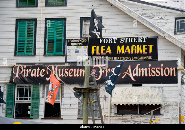 Belize City Fort Street Flea Market and Pirate Museum located near the Fort Street Tourism Village - Stock Image