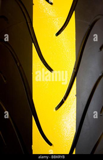 Closeup of Motorbike tyre - Stock Image