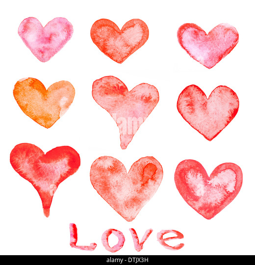 Watercolor painted red hearts - Stock-Bilder
