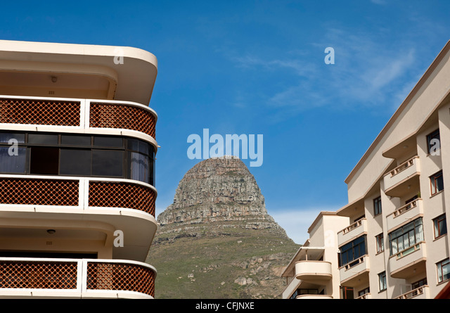 Luxurious apartments at the foot of the Lion's Head peak in Sea Point near Cape Town, South Africa - Stock Image