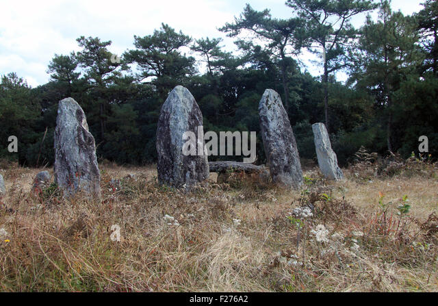 Megaliths on a hillside in northeastern India - Stock Image