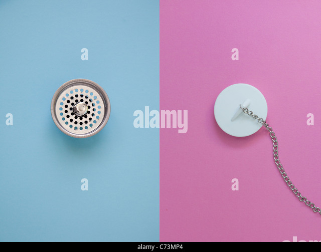 side by side drain and drain plug - Stock Image
