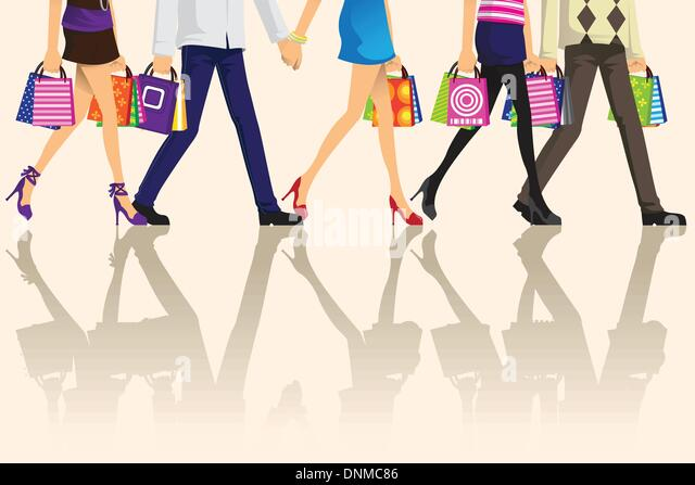 A vector illustration of shopping people carrying shopping bags - Stock-Bilder