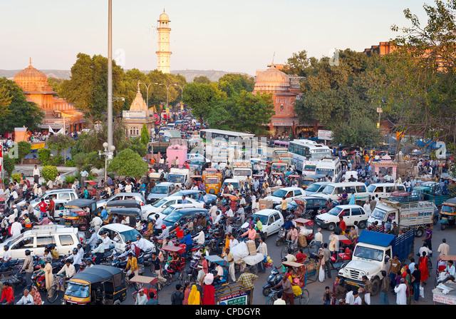 Traffic congestion and street life in the city of Jaipur, Rajasthan, India, Asia - Stock Image