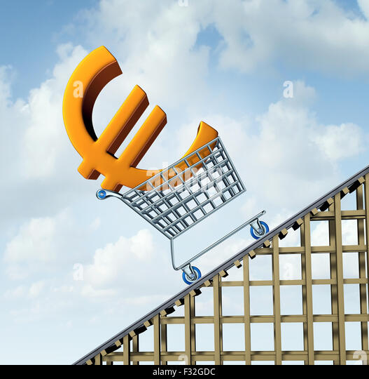 Euro currency rise financial concept as a three dimensional european money icon in a shopping cart going up a roller - Stock Image