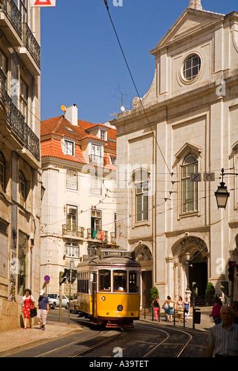 Portugal Lisbon Tram Electrico Strassenbahn Baixa Chiado - Stock Image