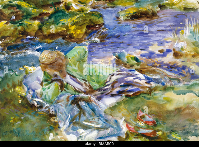 Turkish Woman by a Stream, by John Singer Sargent. United States, 19th-20th century - Stock Image