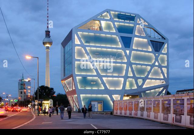 Humboldt Box, Humboldt Forum, Schlossplatz, Unter den Linden, Am Lustgarten, TV Tower, Park Inn Hotel, Berlin, Germany, - Stock-Bilder