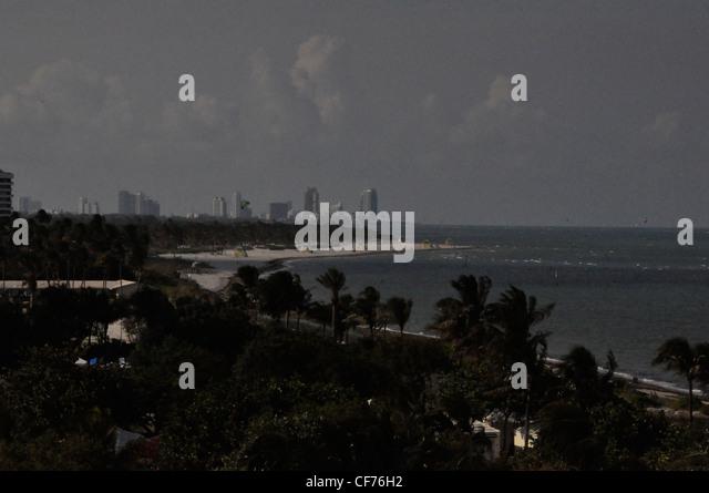 Miami mono tone dramatic evening drama - Stock Image