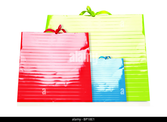 Colorful Shopping Bags isolated on white - Stock Image