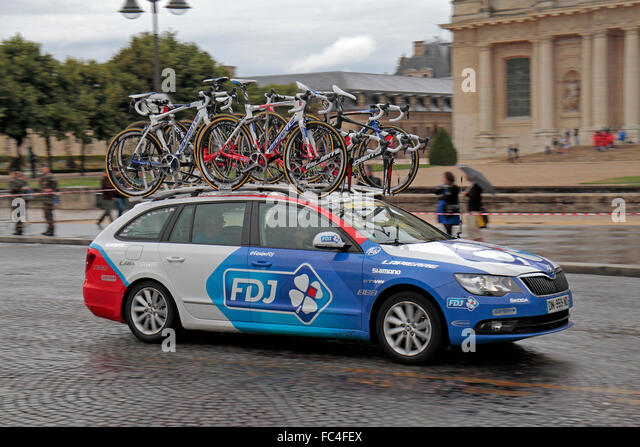 One of the 2015 Tour de France support cars for FDJ as it passes through Paris on the last stage of the race. - Stock Image