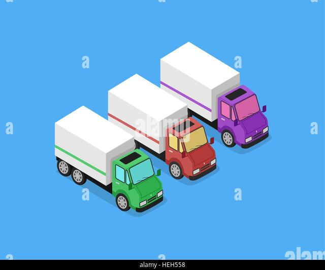 Isometric Delivery Van Car Icon. Isometric delivery lorry car icon. Three 3d delivery vector truck. Service van - Stock-Bilder
